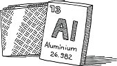 Hand-drawn vector drawing of the Chemical Element Aluminium. Black-and-White sketch on a transparent background (.eps-file). Included files are EPS (v10) and Hi-Res JPG.