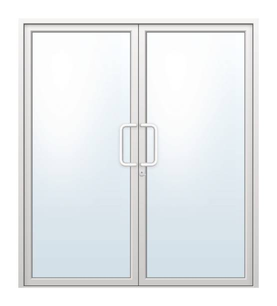 aluminium door vector Vector illustration of aluminium door and chrome door handle and glass isolated on white background. handle stock illustrations