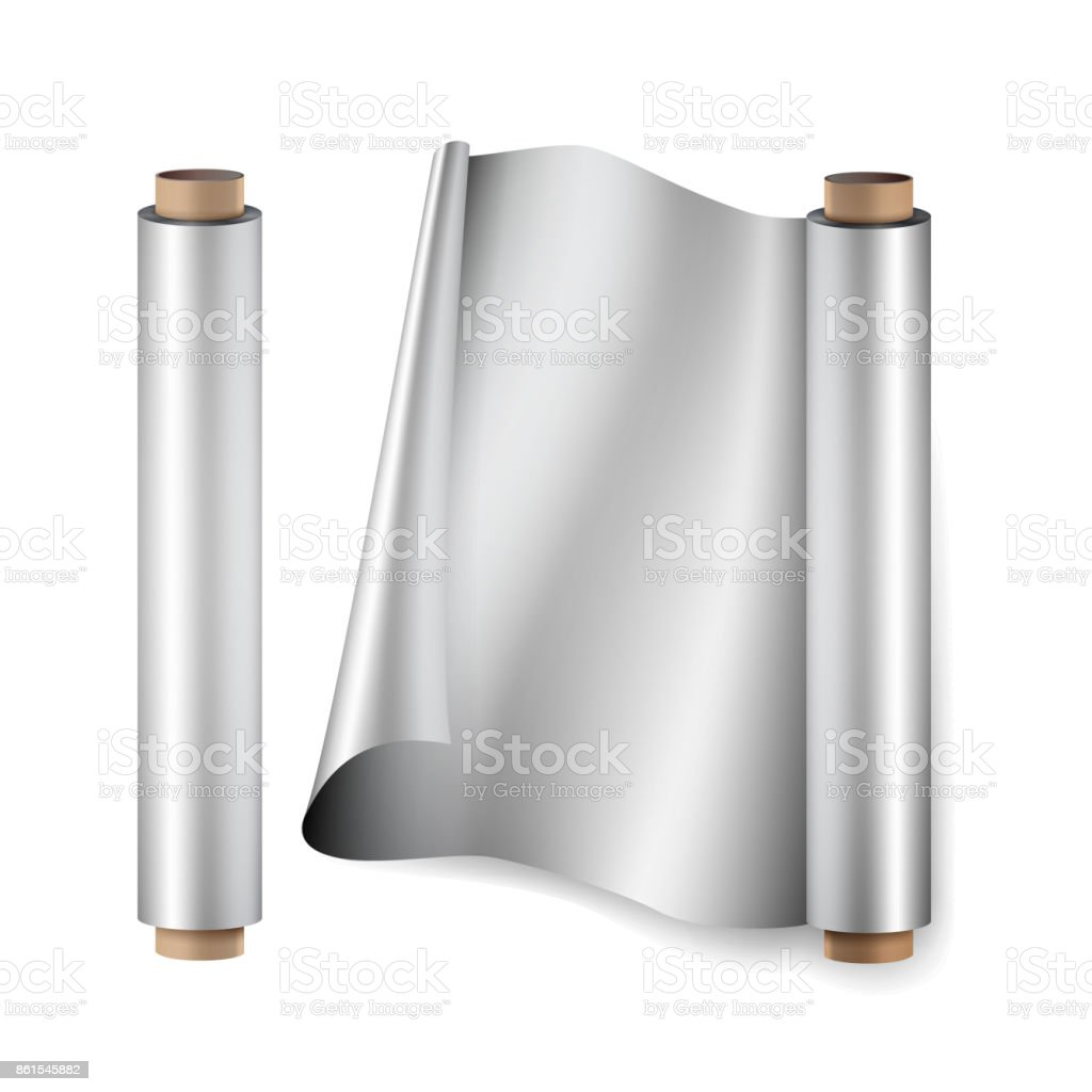 Aluminium Foil Roll Vector. Close Up Top View. Opened And Closed. Realistic Illustration Isolated On White vector art illustration