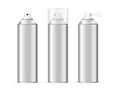 Aluminium Spray Can Template Blank Set. Vector