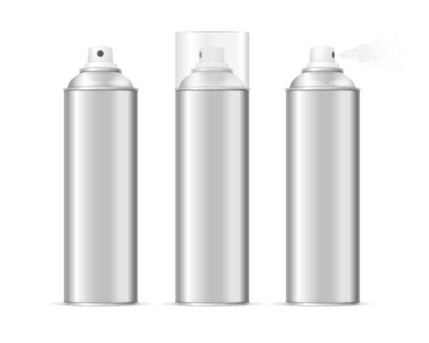 Aluminium Spray Can Template Blank Set. Vector Aluminium Spray Can Template Blank Set. Different Types Vector illustration aerosol can stock illustrations