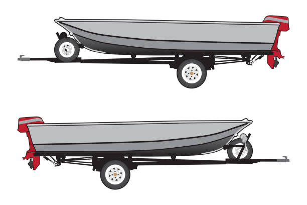 Aluminum Boat on Trailer vector art illustration