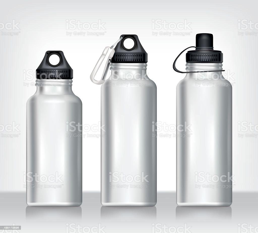 Aluminum bottle water isolated white background vector art illustration