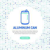 istock Aluminum Can Line Icons. Simple Outline Symbol Icons with Pattern 1248943196