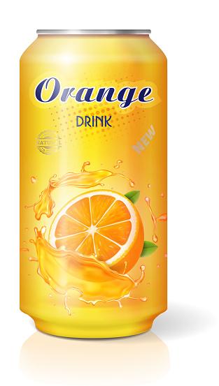 Aluminum can with fruit orange juice isolated realistic