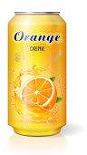 Aluminum can with fruit orange juice isolated realistic.