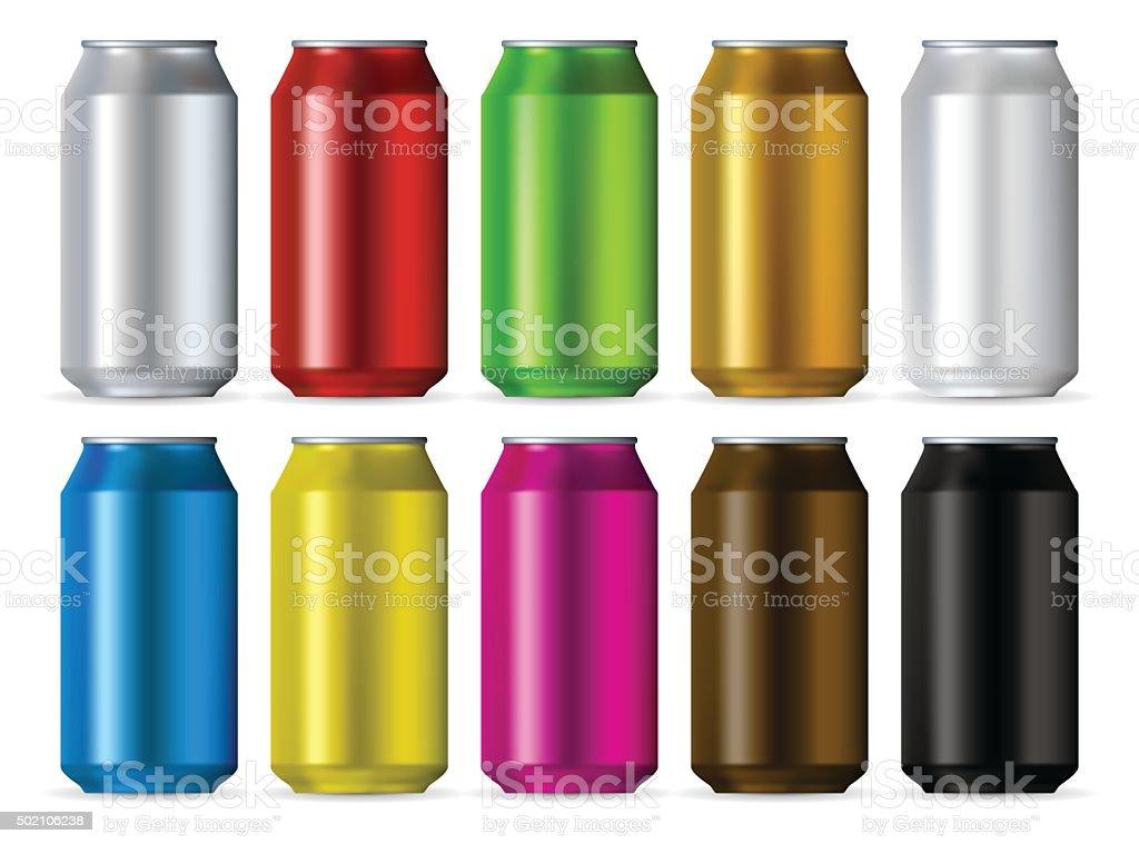 Aluminum cans color setvectorkunst illustratie