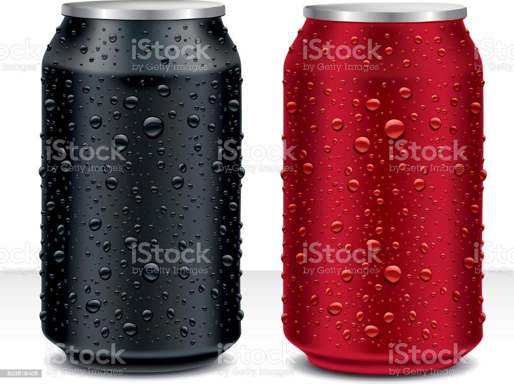 Aluminium blikjes in zwart, donker rood met zoet waterdruppelsvectorkunst illustratie