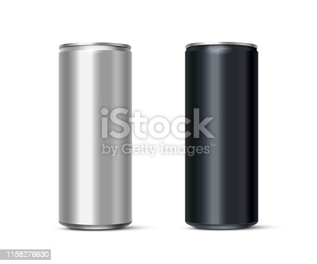 Aluminum energy drink or soda pack mock up. Vector realistic blank metallic cans isolated on white background