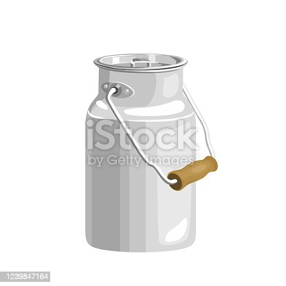 Aluminum milk can isolated on white background. Vector illustration in cartoon flat style.