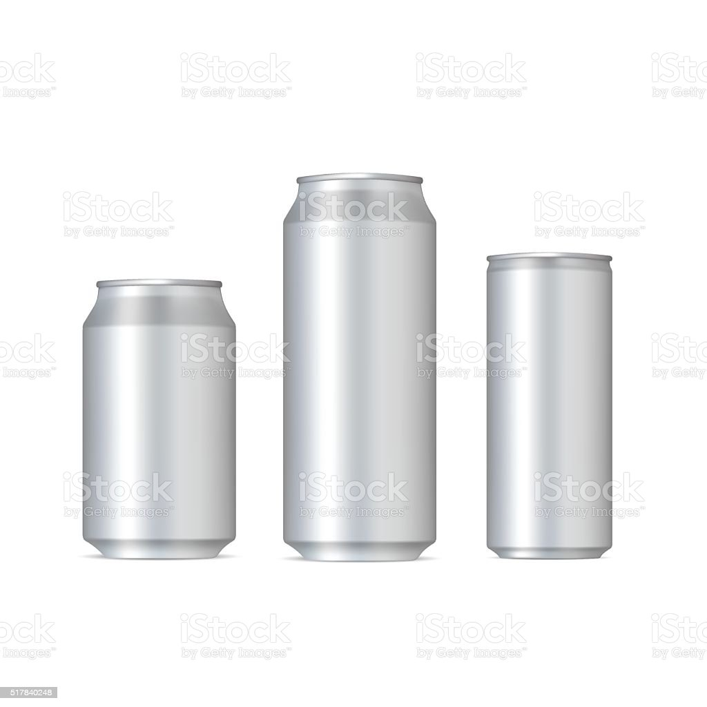 Aluminum realistic cans vector art illustration
