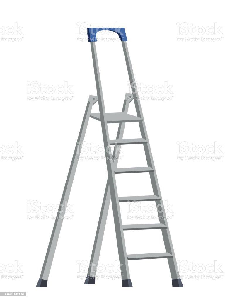 Aluminum Step Folding Ladder Isolated On White Stock Illustration Download Image Now Istock