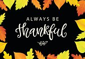 Always Be Thankful. Thanksgiving Day poster template with bright leaves