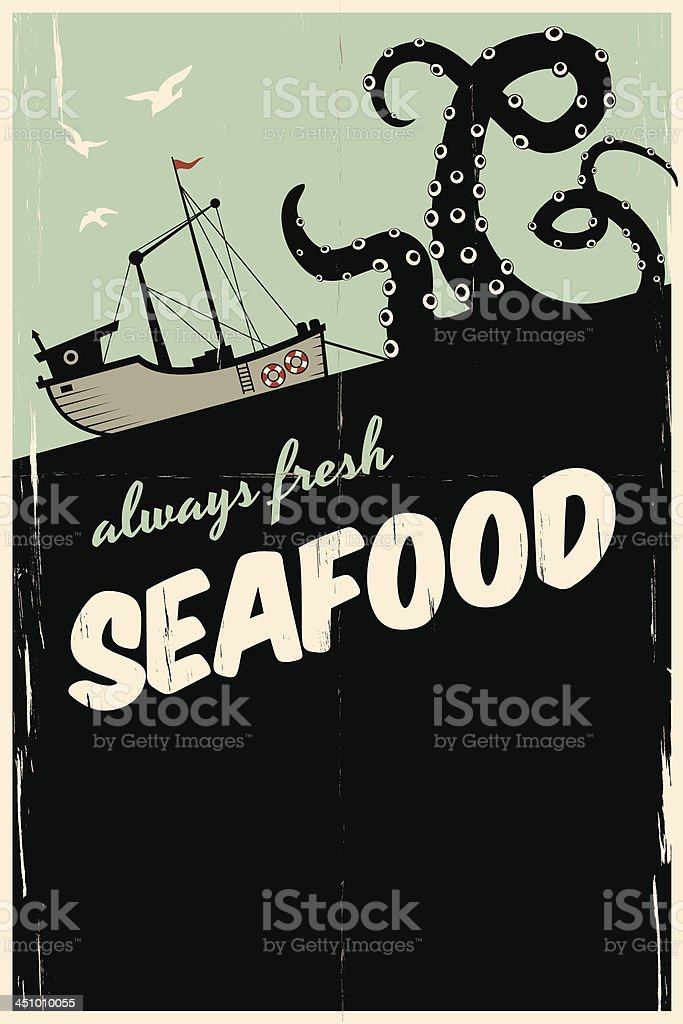 always fresh seafood vector art illustration