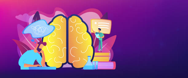 Alzheimer disease concept banner header. Patient with thought bubble and doctor examining brain. Alzheimer disease and dementia, dotage and memory loss concept on white background. Header or footer banner template with copy space. neurodegenerative disease stock illustrations