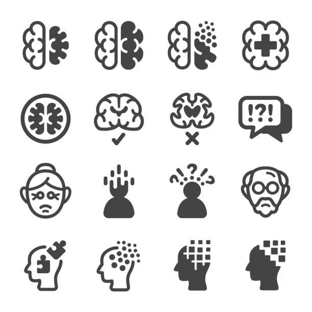 ilustrações de stock, clip art, desenhos animados e ícones de alzheimer disease icon set - alzheimer