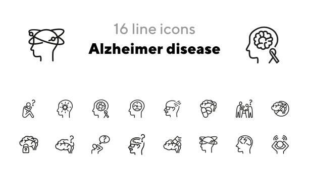 ilustrações de stock, clip art, desenhos animados e ícones de alzheimer disease line icon set - alzheimer
