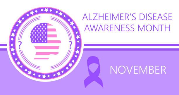 ilustrações de stock, clip art, desenhos animados e ícones de alzheimer s disease awareness month is organized on november in usa. - alzheimer