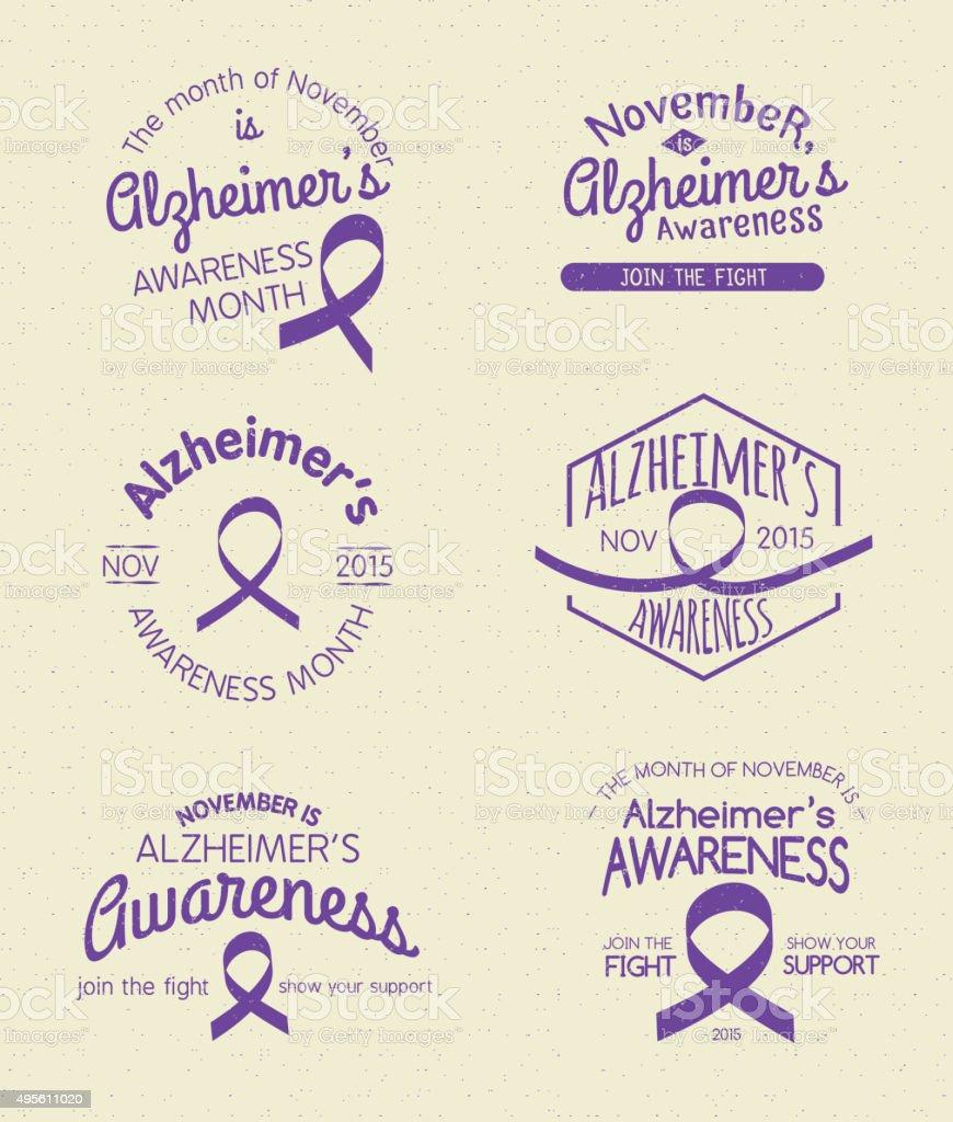 Mois de sensibilisation au d'Alzheimer insigne ensemble dessiné à la main - Illustration vectorielle