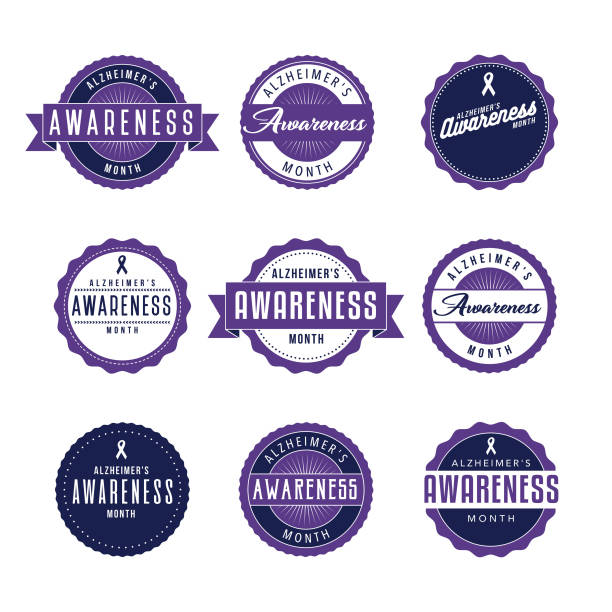 ilustrações de stock, clip art, desenhos animados e ícones de alzheimer's awareness month icon set - alzheimer