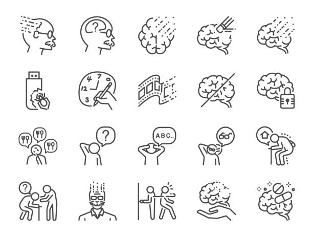 Alzheimer's & Brain Awareness line icon set. Included the icons as Alzheimer, brain disease, Savant syndrome, mental disabilities, Down syndrome and more. Alzheimer's & Brain Awareness line icon set. Included the icons as Alzheimer, brain disease, Savant syndrome, mental disabilities, Down syndrome and more. neurodegenerative disease stock illustrations
