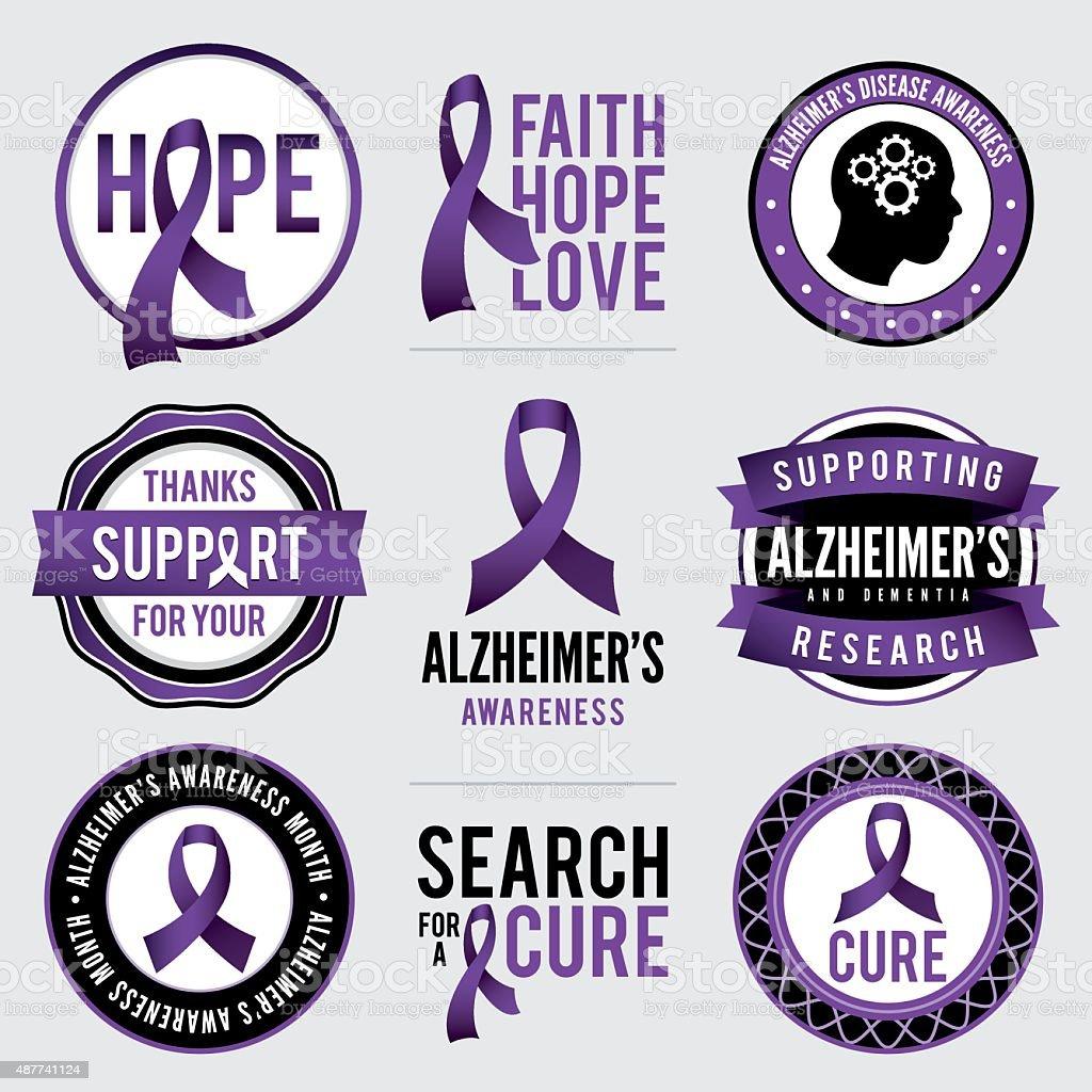 Maladie d'Alzheimer conscience des Badges Illustration - Illustration vectorielle