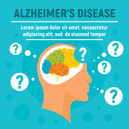 Alzheimers disease concept background, flat style
