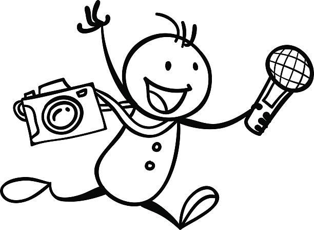 stockillustraties, clipart, cartoons en iconen met i am a reporter - journaal presentator