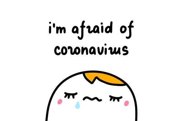 stockillustraties, clipart, cartoons en iconen met ik ben bang van coronavirus hand getrokken vectorillustratie met droevige mens die in beeldverhaal grappige stijl schreeuwt - tears corona