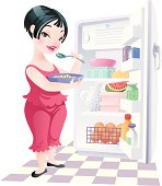 The plump girl faces to an open refrigerator eats and  looks coquettishly.