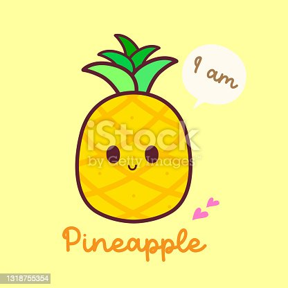 I am Pineapple fruit with isolated cartoon Character, healthy and natural life, Vector Illustration