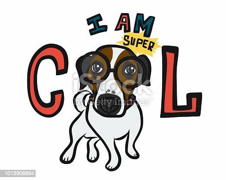 I am super cool dog glasses cartoon vector doodle illustration