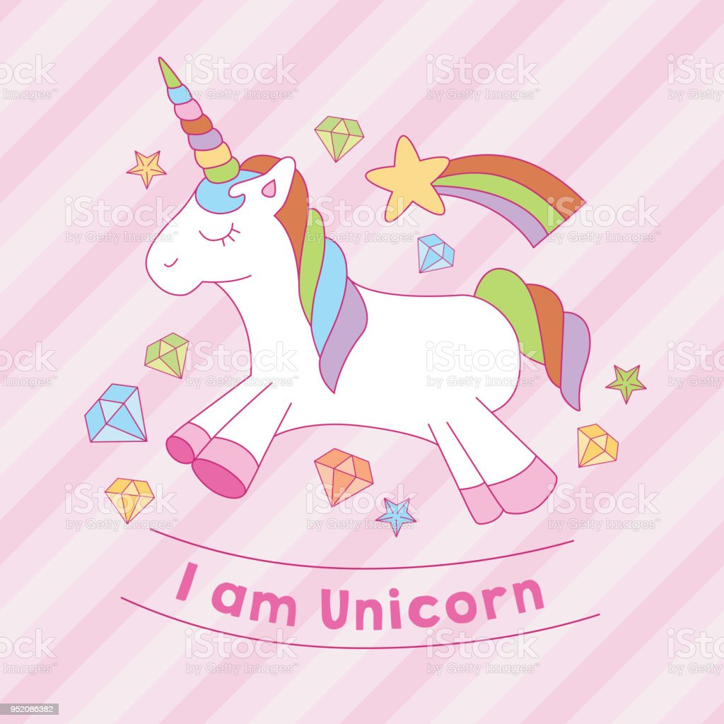 I Am Unicorn Print With Diamond Star Stripe Background Stock Illustration Download Image Now Istock