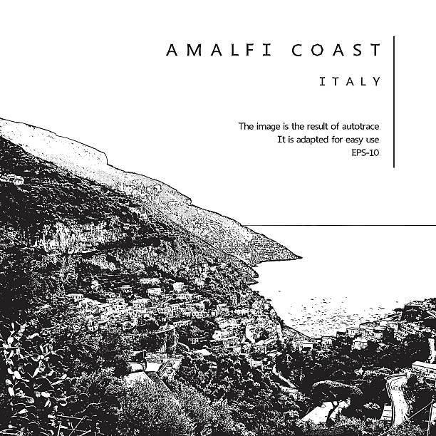bildbanksillustrationer, clip art samt tecknat material och ikoner med amalfi coast, italy. coastline, sea, houses. - amalfi