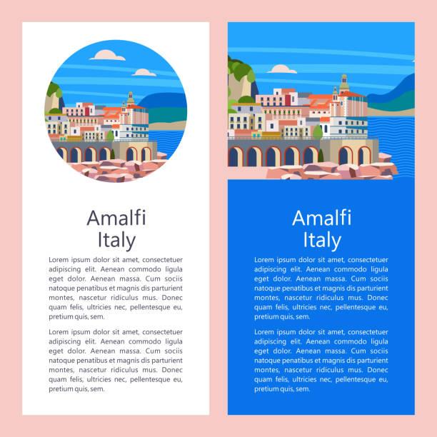 illustrazioni stock, clip art, cartoni animati e icone di tendenza di amalfi coast, italy. seaside resort town. vector illustration. - amalfi