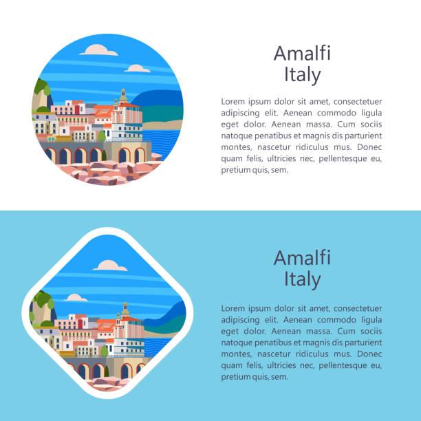 bildbanksillustrationer, clip art samt tecknat material och ikoner med amalfikusten, italien. seaside resort stad. vektorillustration. - amalfi