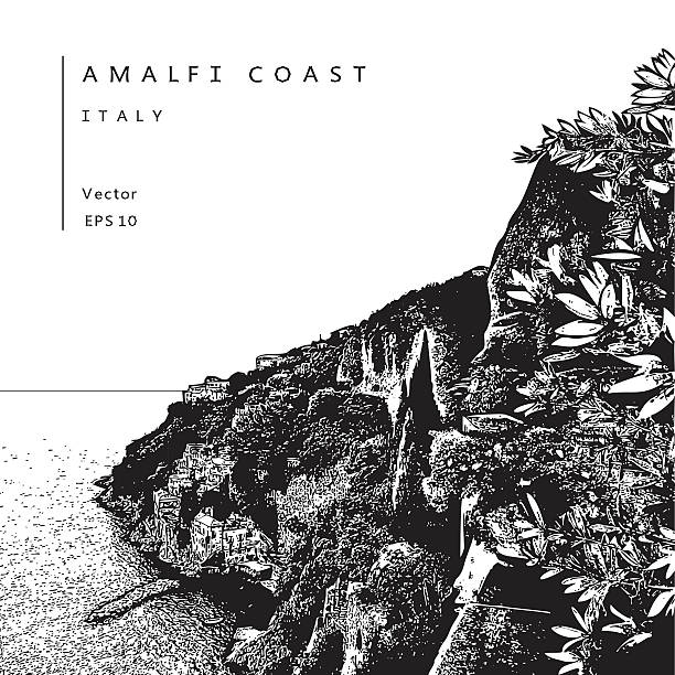 illustrazioni stock, clip art, cartoni animati e icone di tendenza di amalfi coast, italy. - amalfi