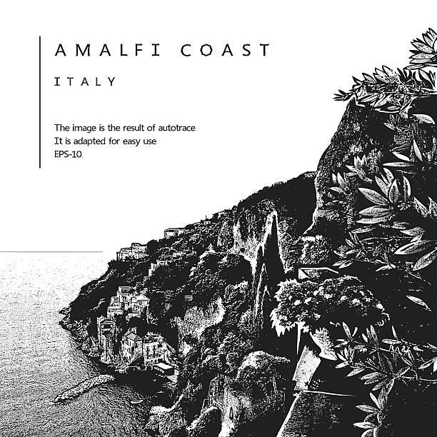 illustrazioni stock, clip art, cartoni animati e icone di tendenza di amalfi coast, italy. vector illustration of a coastline and sea. - amalfi