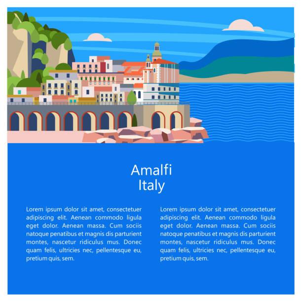 illustrazioni stock, clip art, cartoni animati e icone di tendenza di amalfi. seaside town in italy. vector illustration. - amalfi