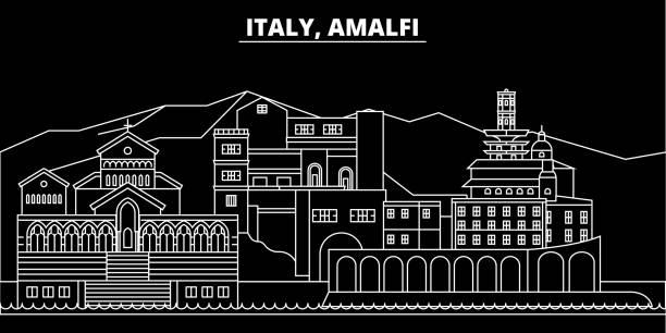 bildbanksillustrationer, clip art samt tecknat material och ikoner med amalfi siluett skyline. italien - amalfi vektor city, italiensk linjär arkitektur, byggnader. amalfi resa illustration, disposition sevärdheter. italien flat ikonen, italienska linje banner - amalfi