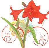 Floral design with Amaryllis Flower, ornate and splashes of watercolor.