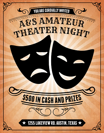 Amateur Theater Night Invitation on royalty free vector Background Poster