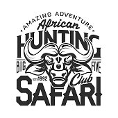 Buffalo hunter club badge, African safari hunting open season icon and t-shirt print template. Vector buffalo bull trophy, wild animal hunt amazing adventure, premium stars club