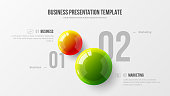 Amazing business infographic presentation vector 3D colorful balls illustration.  Corporate marketing analytics data report design layout. Company statistics information graphic visualization template.