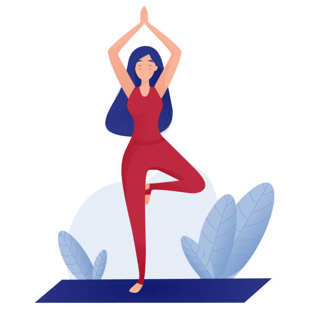 Amazing cartoon girl in yoga pose. Practicing yoga. Vector illustration. Young and happy woman meditates. – artystyczna grafika wektorowa