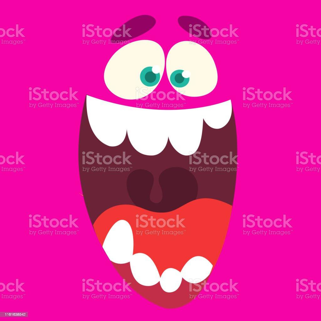 Amazing cartoon monster face. Halloween vector illustration