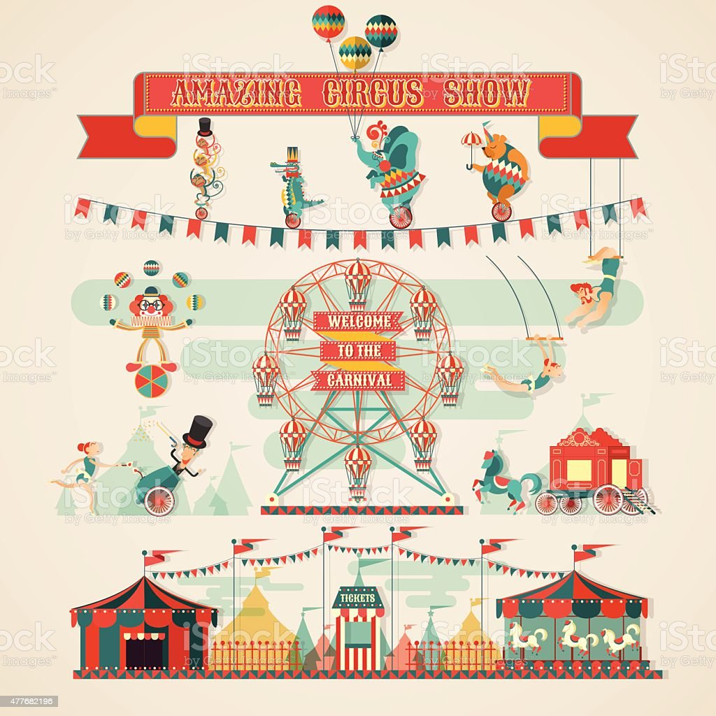 Incroyable spectacle du cirque éléments - Illustration vectorielle