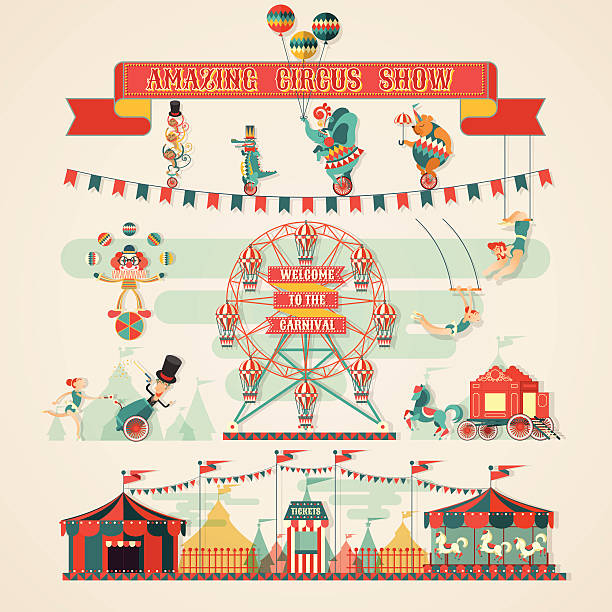Amazing Circus Show elements design elements of circus show vector illustrations farmer's market stock illustrations