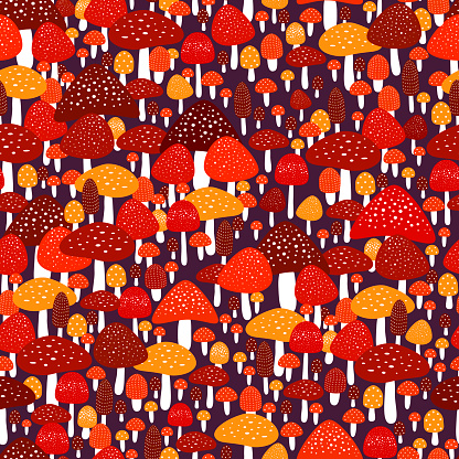 Amazing colorful forest meadow with amanita seamless pattern. Woodland decorative mushrooms texture. Beautiful wallpaper with Fly agarics. Vector illustration with decorative mushrooms.
