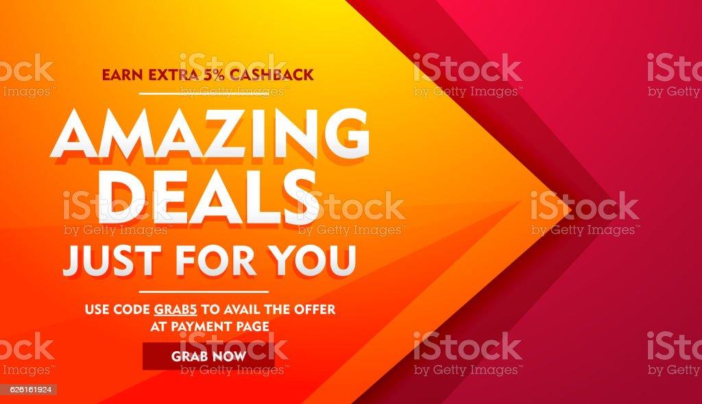 amazing deals sale offer banner vector art illustration
